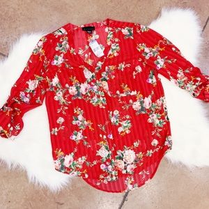 Red floral blouse - XS